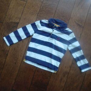Mini Boden Striped Polo Navy White Star Collar 2 3